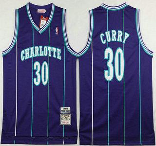 Men's Charlotte Hornets #30 Dell Curry 1992-93 Purple Hardwood Classics Soul Swingman Throwback Jersey