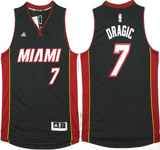 Men's Miami Heat #7 Goran Dragic Revolution 30 Swingman 2014 New Black Jersey