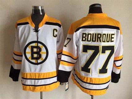 Men's Boston Bruins #77 Ray Bourque 1968-69 White CCM Vintage Throwback Jersey