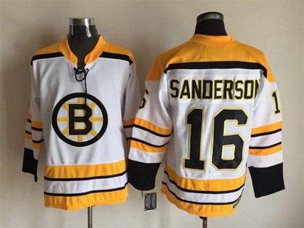 Men's Boston Bruins #16 Derek Sanderson 1968-69 White CCM Vintage Throwback Jersey