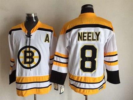 Men's Boston Bruins #8 Cam Neely 1968-69 White CCM Vintage Throwback Jersey