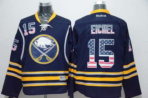 Men's Buffalo Sabres #15 Jack Eichel Home Navy Blue USA Flag NHL Reebok Fashion Jersey