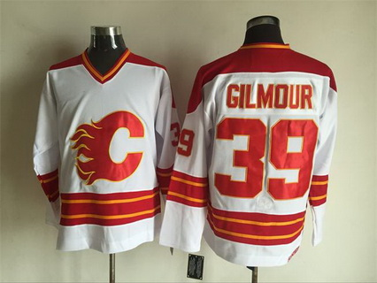 Men's Calgary Flames #39 Doug Gilmour 1980-81 White CCM Vintage Throwback Jersey
