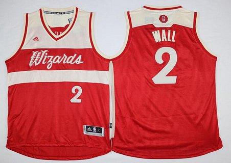 Men's Washington Wizards #2 John Wall Revolution 30 Swingman 2015 Christmas Day Red Jersey