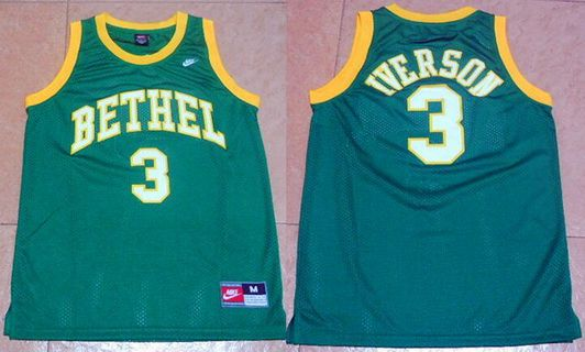 Men's Bethel High School #3 Allen Iverson Green Basketball Nike Swingman Jersey