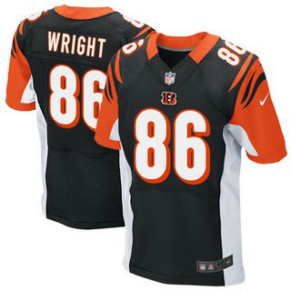 Men's Cincinnati Bengals #86 James Wright Black Team Color NFL Nike Elite Jersey