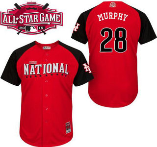 National League New York Mets #28 Daniel Murphy Red 2015 All-Star Game Player Jersey