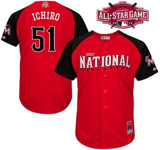 National League Miami Marlins #51 Ichiro Suzuki Red 2015 All-Star Game Player Jersey