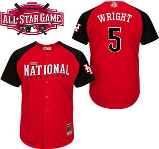 National League New York Mets #5 David Wright Red 2015 All-Star Game Player Jersey