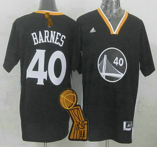 Golden State Warriors #40 Harrison Barnes Revolution 30 Swingman 2014 New Black Short-Sleeved Jersey With 2015 Finals Champions Patch