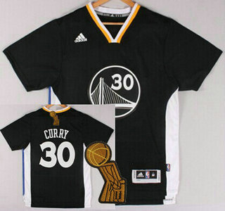 Golden State Warriors #30 Stephen Curry Revolution 30 Swingman 2014 New Black Short-Sleeved Jersey With 2015 Finals Champions Patch