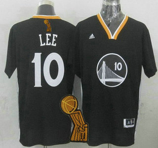 Golden State Warriors #10 David Lee Revolution 30 Swingman 2014 New Black Short-Sleeved Jersey With 2015 Finals Champions Patch