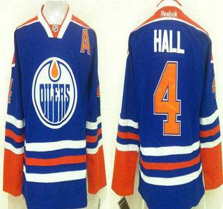 Men's Edmonton Oilers #4 Taylor Hall Reebok Royal Blue Home Premier Jersey
