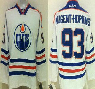 Men's Edmonton Oilers #93 Ryan Nugent-Hopkins Reebok White Away Premier Jersey