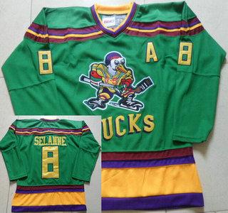 Men's Mighty Ducks of Anaheim #8 Teemu Selanne 1991-92 Green CCM Vintage Throwback Jersey