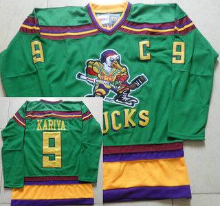 Men's Mighty Ducks of Anaheim #9 Paul Kariya 1991-92 Green CCM Vintage Throwback Jersey