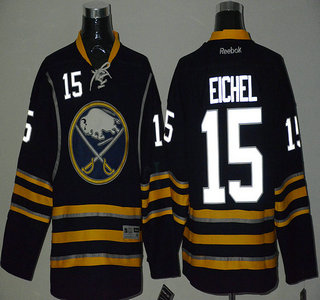 Men's Buffalo Sabres #15 Jack Eichel Night Luminous Navy Blue Jersey