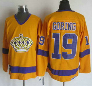 Men's Los Angeles Kings #19 Butch Goring 1970-71 White CCM Vintage Throwback Jersey