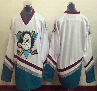Men's Mighty Ducks of Anaheim Blank 1995-96 White CCM Vintage Throwback Jersey