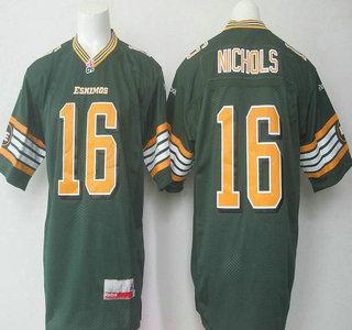 CFL Edmonton Eskimos #16 Matt Nichols Green Jersey