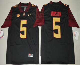 Men's Florida State Seminoles #5 Jameis Winston Black Stitched College Football 2016 Nike NCAA Jersey