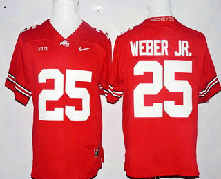 Men's Ohio State Buckeyes #25 Mike Weber Jr. Red Stitched College Football Nike NCAA Jersey