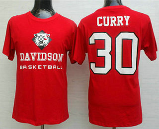 Men's Davidson Wildcats #30 Stephen Curry College Red Basketball T- shirt