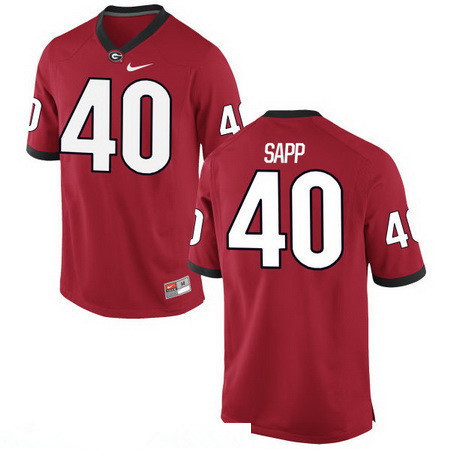 Men's Georgia Bulldogs #40 Theron Sapp Red Stitched College Football 2016 Nike NCAA Jersey
