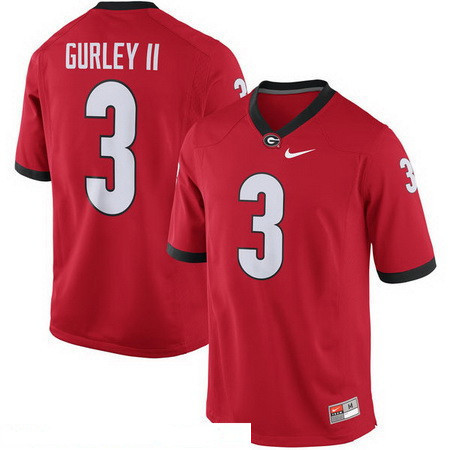 Men's Georgia Bulldogs #3 Todd Gurley II Red Stitched College Football 2016 Nike NCAA Jersey