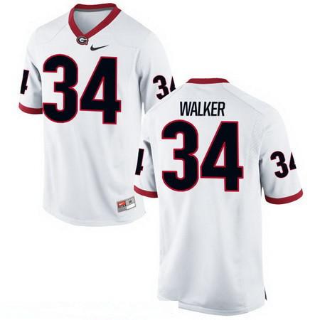 Men's Georgia Bulldogs #34 Herschel Walker White Stitched College Football 2016 Nike NCAA Jersey