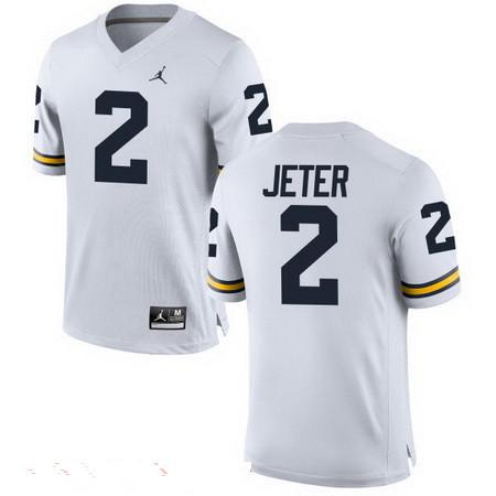 Men's Michigan Wolverines #2 Derek Jeter White Stitched College Football Brand Jordan NCAA Jersey