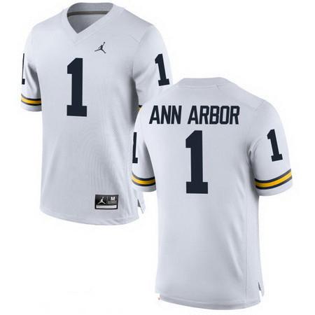 Men's Michigan Wolverines #1 Ann Arbor White Stitched College Football Brand Jordan NCAA Jersey