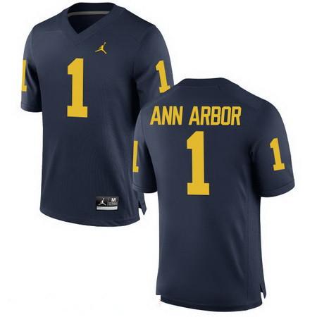 Men's Michigan Wolverines #1 Ann Arbor Navy Blue Stitched College Football Brand Jordan NCAA Jersey