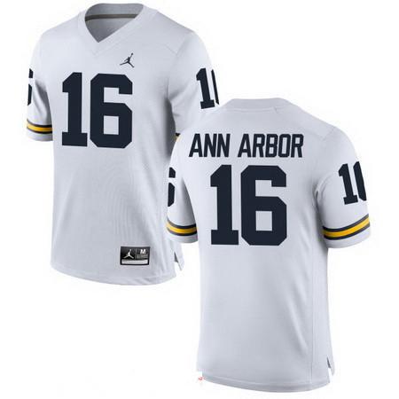 Men's Michigan Wolverines #16 Ann Arbor White Stitched College Football Brand Jordan NCAA Jersey