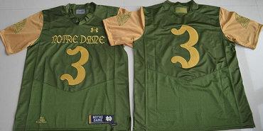 Men's Notre Dame Fighting Irish #3 Joe Montana Green Stitched College Football 2016 Shamrock Series Under Armour NCAA Jersey