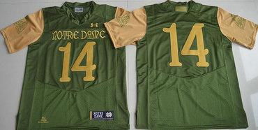 Men's Notre Dame Fighting Irish #14 DeShone Kizer Green Stitched College Football 2016 Shamrock Series Under Armour NCAA Jersey