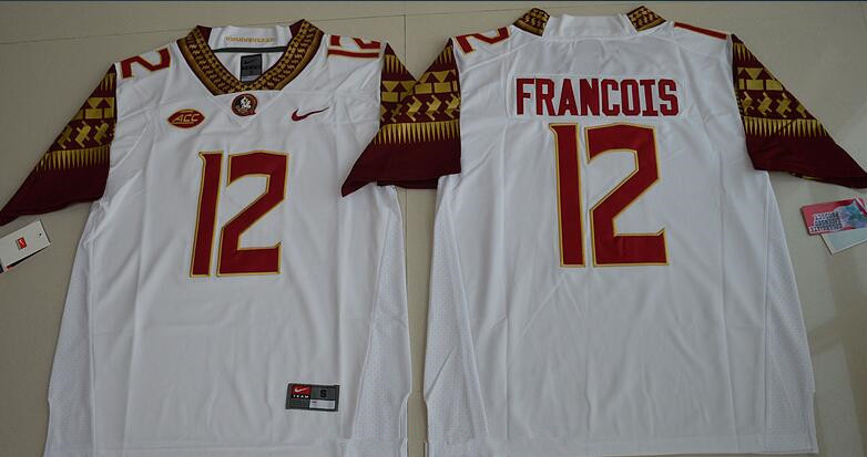Men's Florida State Seminoles #12 Deondre Francois White Stitched College Football 2016 Nike NCAA Jersey