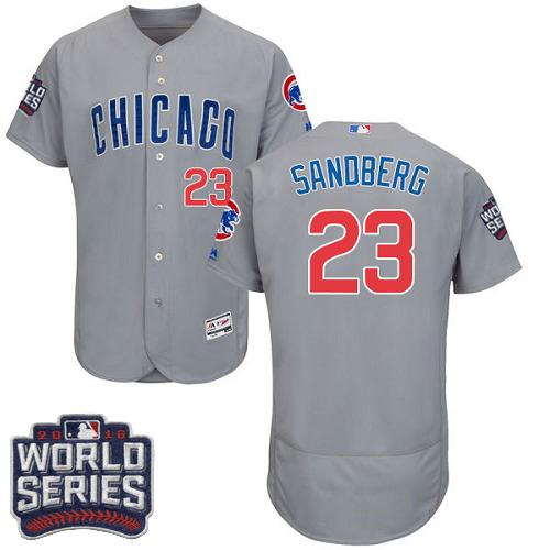 Cubs #23 Ryne Sandberg Grey Flexbase Authentic Collection Road 2016 World Series Bound Stitched MLB Jersey