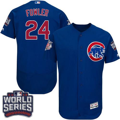 Cubs #24 Dexter Fowler Blue Flexbase Authentic Collection 2016 World Series Bound Stitched MLB Jersey