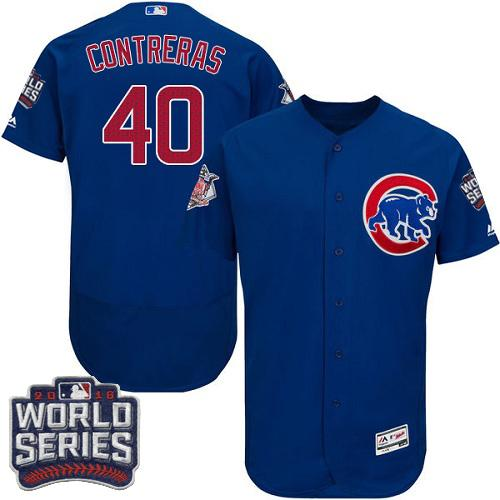 Cubs #40 Willson Contreras Blue Flexbase Authentic Collection 2016 World Series Bound Stitched MLB Jersey