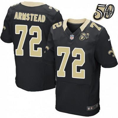 Men's New Orleans Saints #72 Terron Armstead Black 50th Season Patch Stitched NFL Nike Elite Jersey