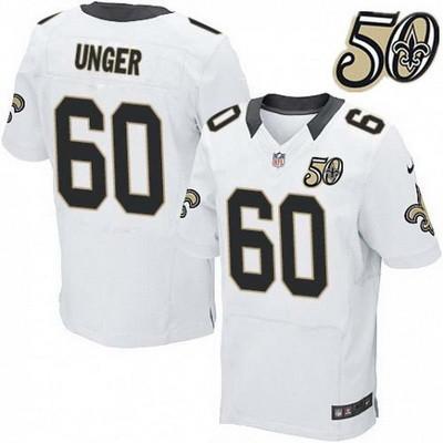 Men's New Orleans Saints #60 Max Unger White 50th Season Patch Stitched NFL Nike Elite Jersey