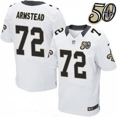 Men's New Orleans Saints #72 Terron Armstead White 50th Season Patch Stitched NFL Nike Elite Jersey