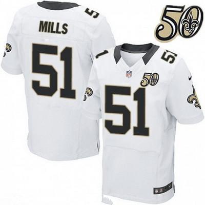 Men's New Orleans Saints #51 Sam Mills White 50th Season Patch Stitched NFL Nike Elite Jersey
