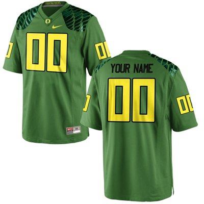 Men's Oregon Ducks 2015 Nike Apple Green Alternate Custom Game Football Jerse