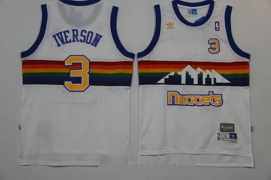 Men's Denver Nuggets #3 Allen Iverson White Rainbow Hardwood Classics Soul Swingman Throwback Jersey