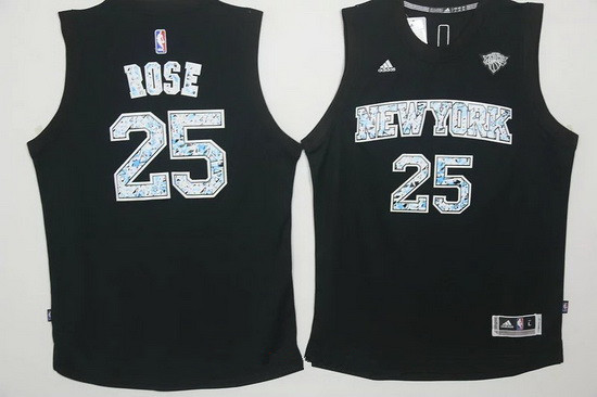 Men's New York Knicks #25 Derrick Rose Black Diamond Stitched NBA Adidas Revolution 30 Swingman Jersey