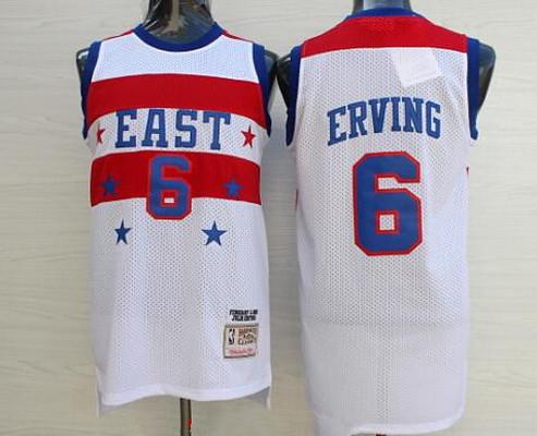 NBA 1980 All-Star Men's #6 Julius Erving White Hardwood Classics Soul Swingman Throwback Jersey