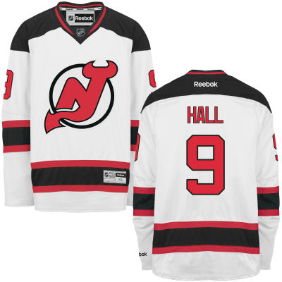 Men's New Jersey Devils #9 Taylor Hall White Away Stitched NHL Reebok Hockey Jersey