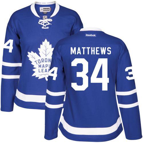 Women's Toronto Maple Leafs #34 Auston Matthews Royal Blue Home Stitched NHL 2016-17 Reebok Hockey Jersey